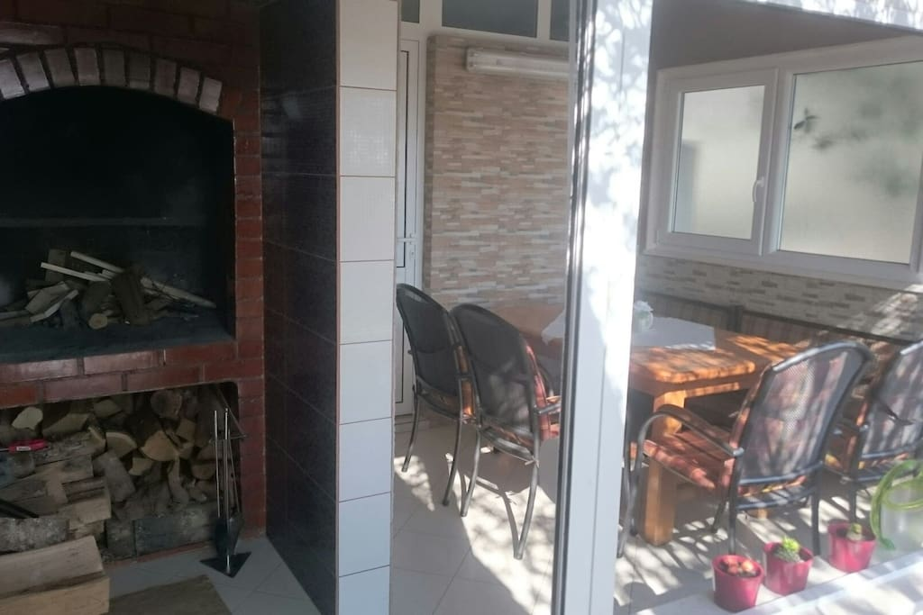Fireplace and outdoor table
