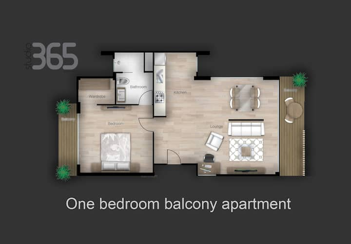 Studio365 One bedroom balcony apartment
