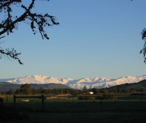 Looking across farmland to the Southern Alps in winter