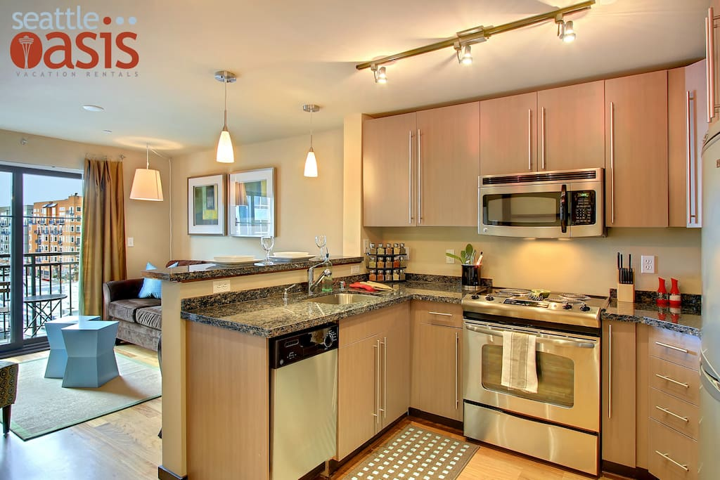 """The modern kitchen has everything needed to make a great """"home cooked"""" meal."""