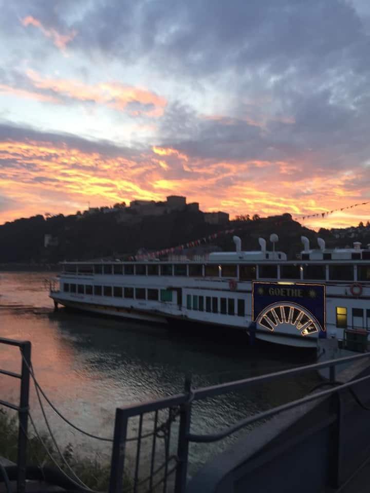Koblenz am deutschen Eck von Rhein und Mosel