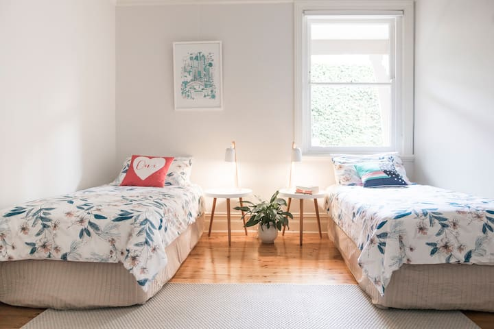 Second bedroom with two new comfortable single beds