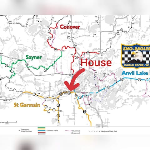 We are located at the red arrow, on Trail 10 and 13 where the yellow color meets the blue. Ride from Eagle River to St. Germain,  Three Lakes, Phelps, Land O'lakes,  Sayner, or to the UP.