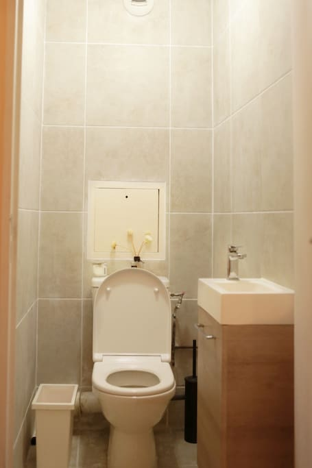 Neat toilet, separated from the shower