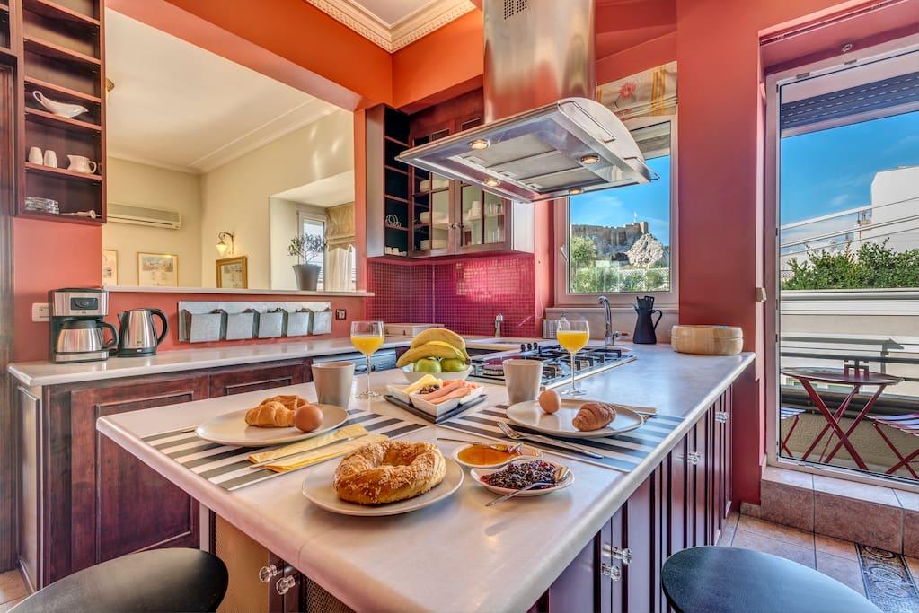 The kitchen with a view to the Acropolis & the Parthenon