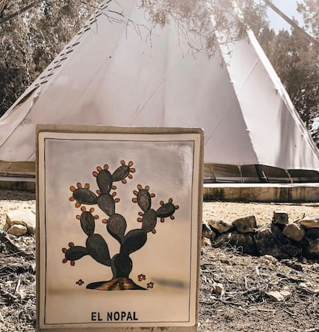 El Nopal tipi hand-painted sign.