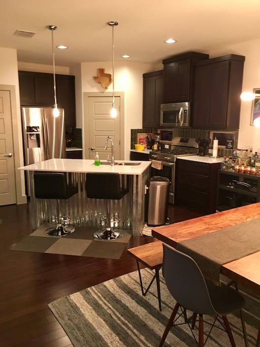 Kitchen with Island & Bar Stools