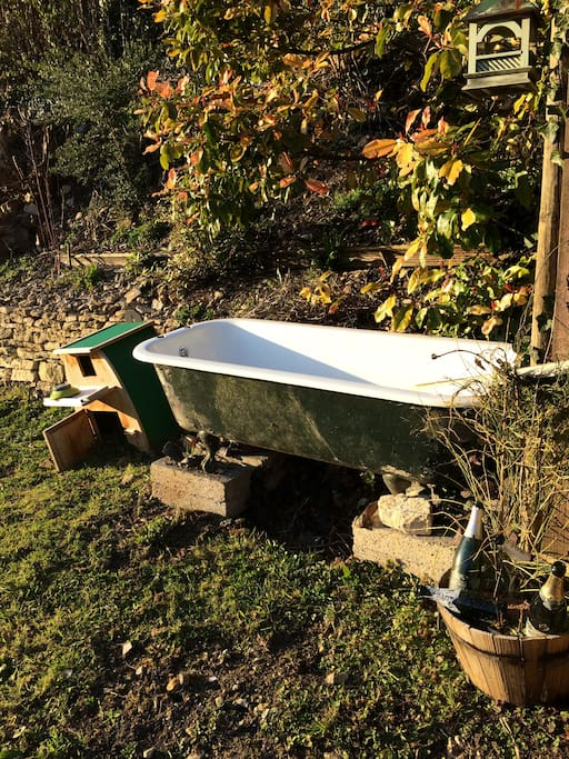 Garden bath for relaxing after a good walk (light the fire underneath for it to warm!)