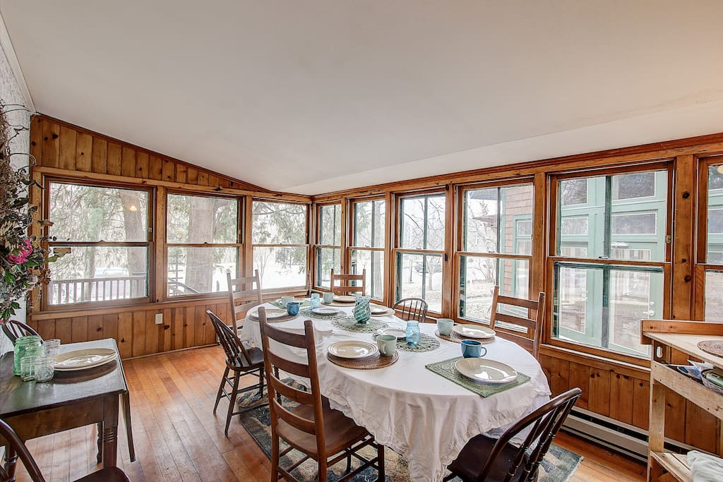 Dining area on heated porch