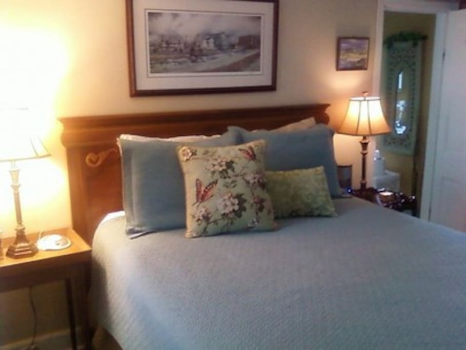 The Mary Eldredge Room queen size bed, private bath with tub shower combination, flat screen TV, WIFI