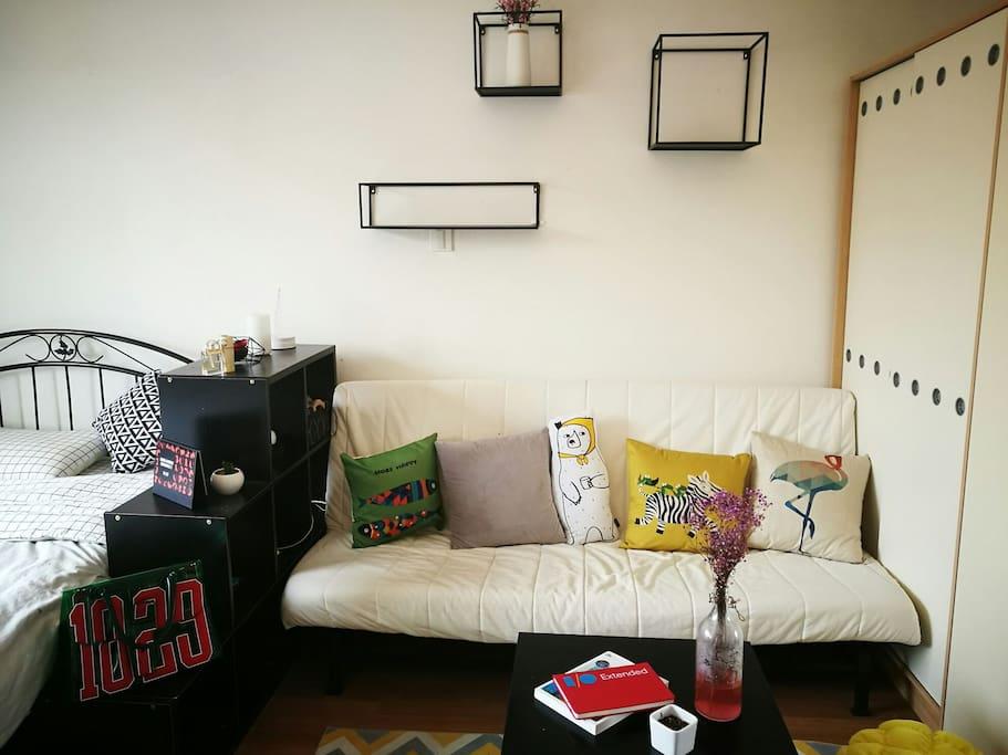 客厅区域-沙发可以展开成沙发床