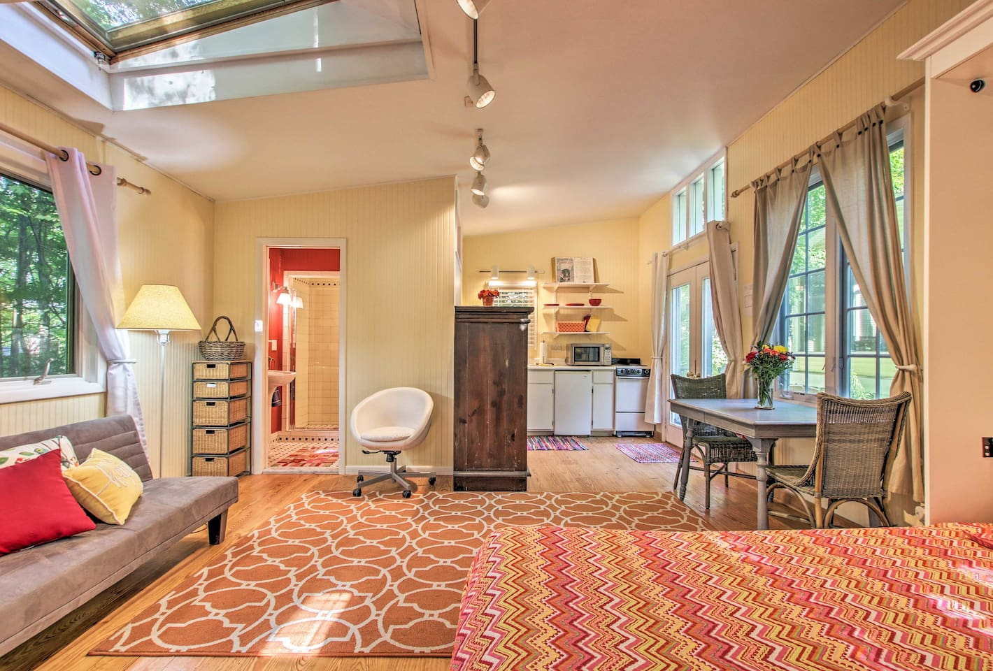 You're welcomed with vibrant decor, natural light, and all the comforts of home.