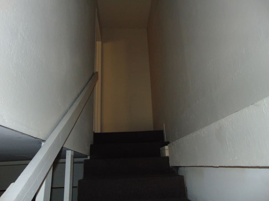 Stairs to private studio apartment