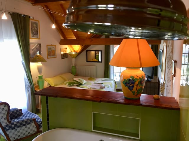 Chambre en Suite verte avec vue panoramique. - Estialescq - Pensió