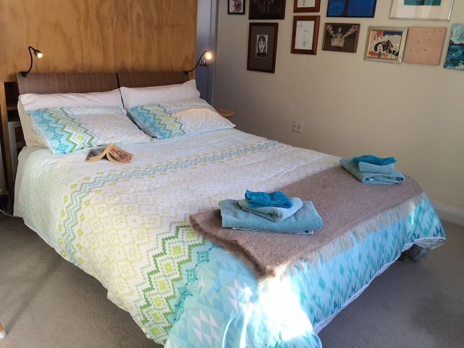 Comfortable queen bed, privacy, quiet and space.