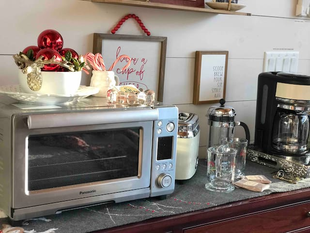 Convection toaster oven on buffet with toaster