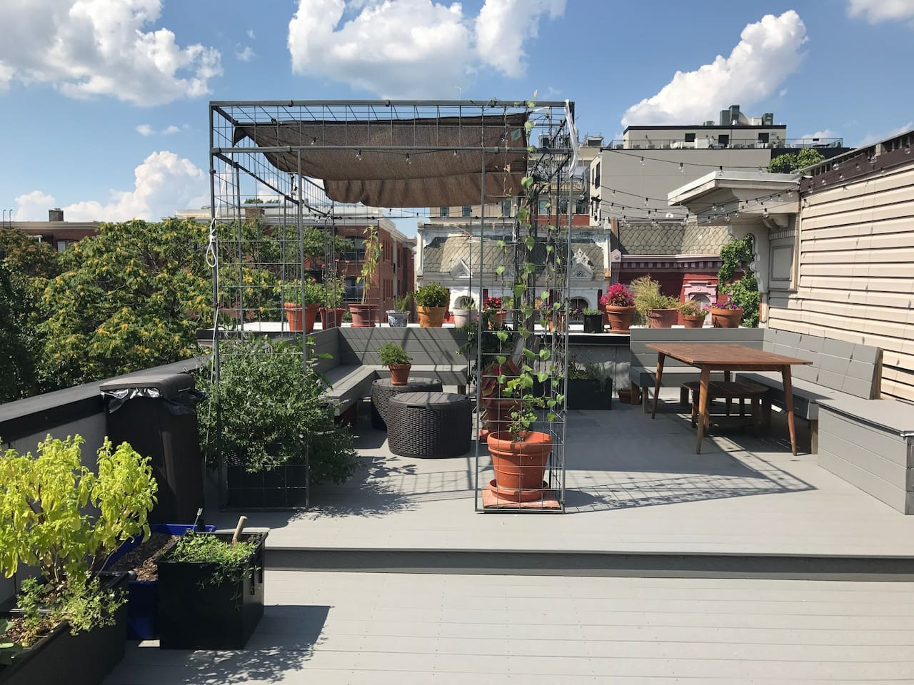 private 600 sq ft. rooftop deck with garden