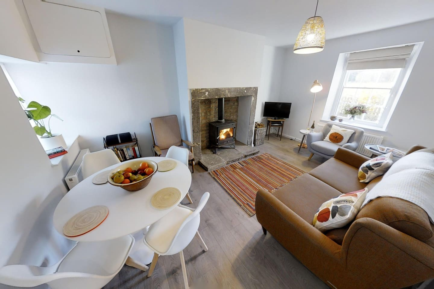 Sitting room with cosy wood burner