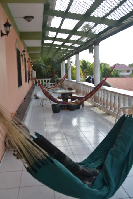 Shared side Balcony & Titled Hammock Lounge