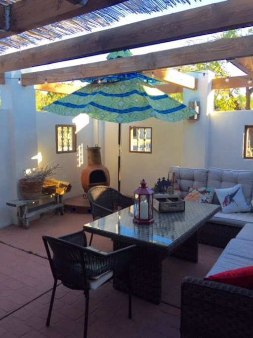 interior courtyard with chiminea