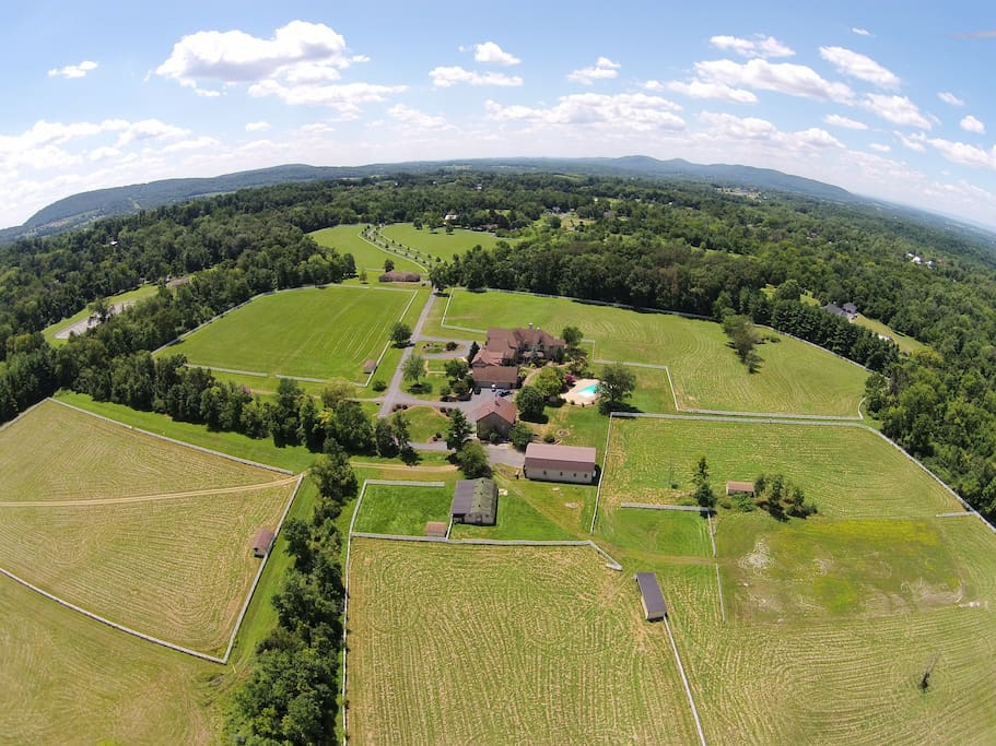 Bird's eye-view of the pastures surrounding the house!