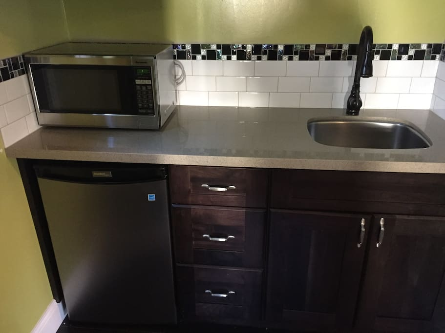 mini fridge, microwave and sink