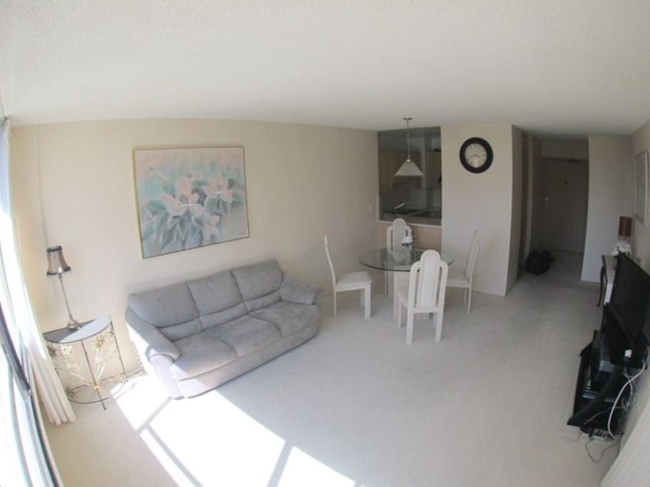The living room from the other side. The different colors of beige makes this condo extremely relaxing. All central Air in Living room and bedroom! The sofa bed has been upgraded and is darker color but brand new and more comfortable.