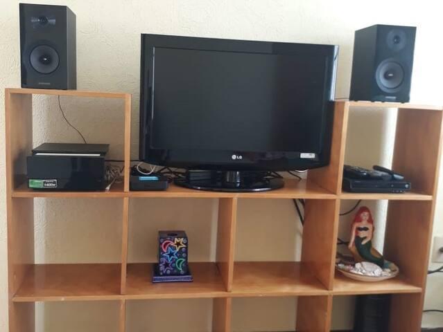 Televisor con reproductor de DVD, USB, Wi Fi y Sky.