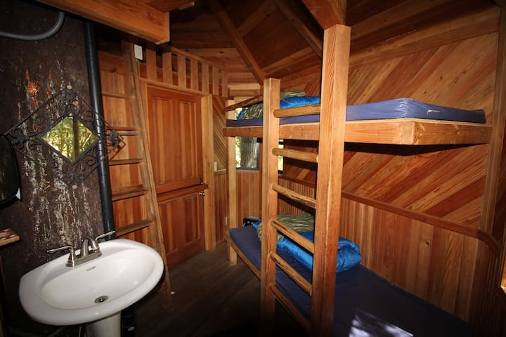 Single wide bunks, sink and entrance to treehouse