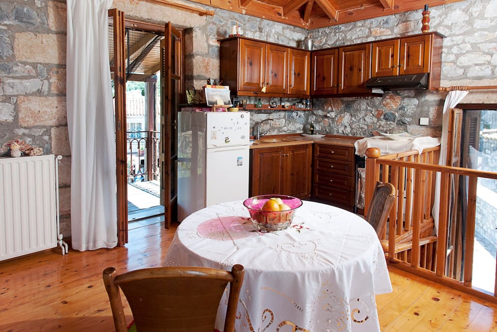Stylish dinning table and the fully equipped kitchen