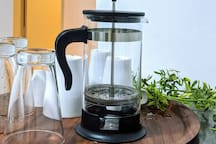 French press for the morning coffee person. Coffee powder is provided as well.