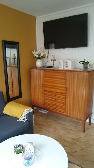 50´s vibe in the living room with this authentic bar cabinet