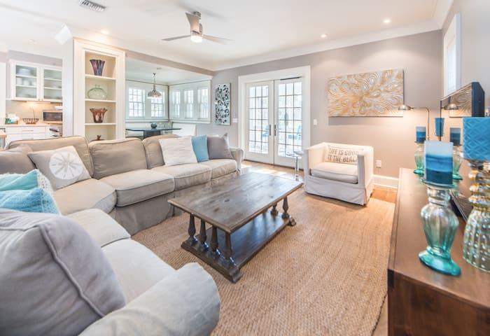 Plush furnishings and elegantly styled living area