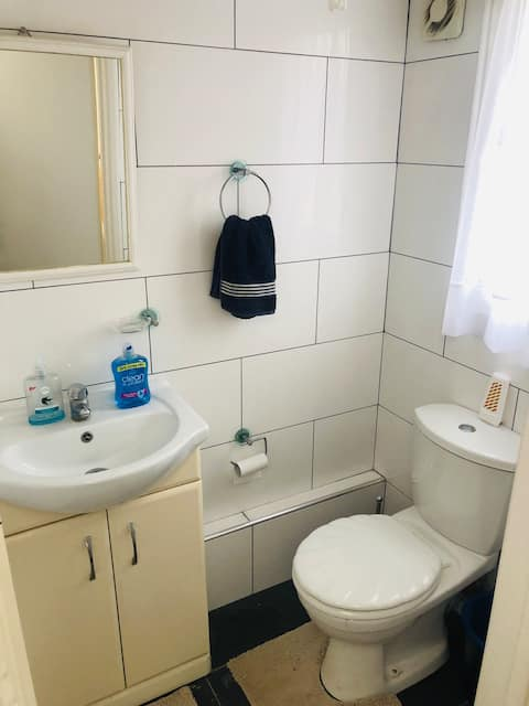 Double bed private shower and bathroom