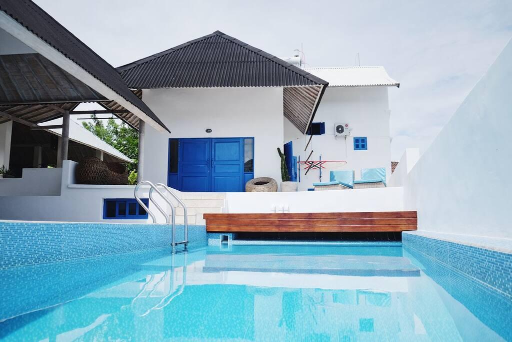 Swimming pool, relax area, yoga place, organic garden