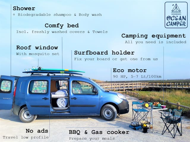 The pacific camper with camping equipment. Everything included for a successful camping trip.