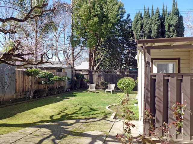 This listing is for renting only the private guest cottage studio in our backyard garden, NOT the entire property.