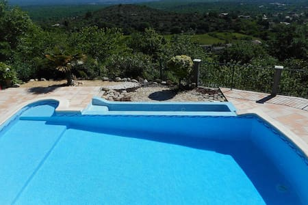 Holiday villa in Courry, Cévennes, view, heated pool, pets admitted