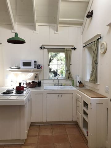 The kitchen has cooktop, microwave, coffee maker, pots and pans and other basics needed for cooking.