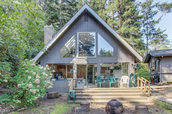 Lovely dog-friendly home w/ lakefront views, dock, and a private guest cottage!