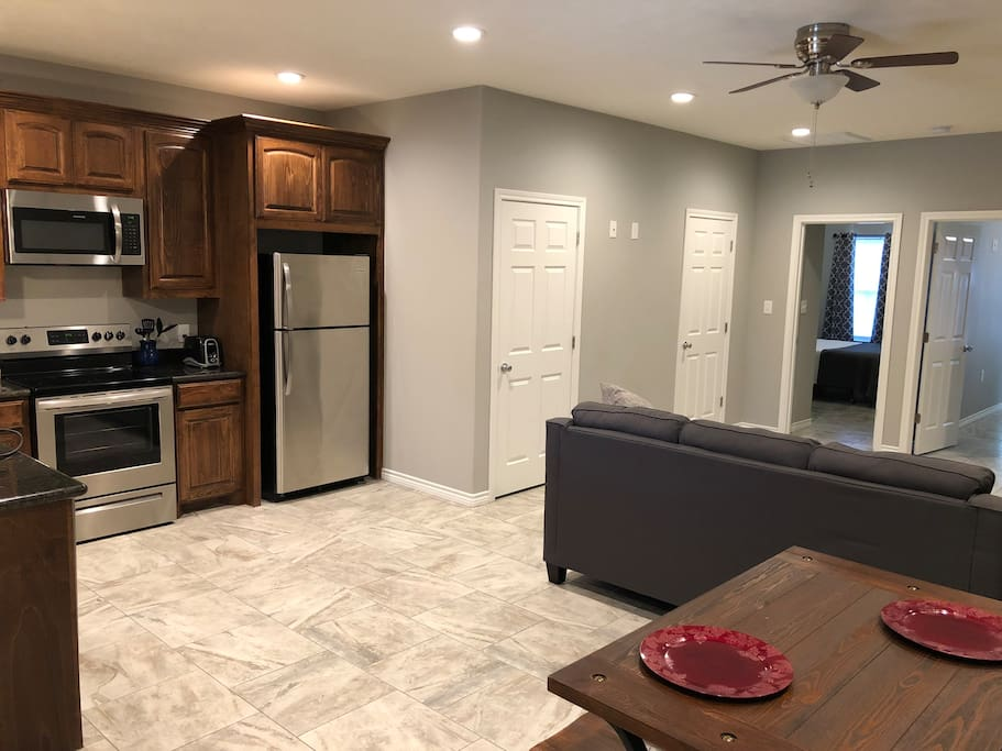 One view of the kitchen & living area
