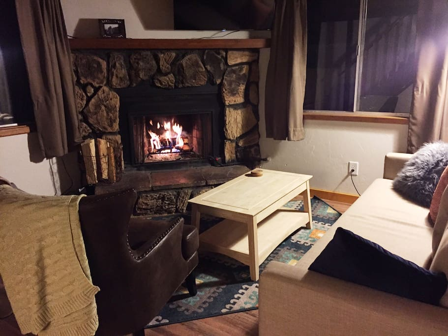 Spend a cozy night in front of the great fireplace