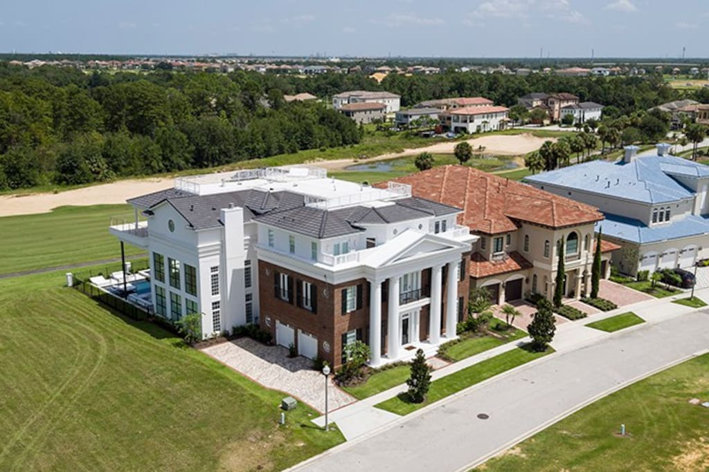 This villa was custom built inspired by the antebellum mansion