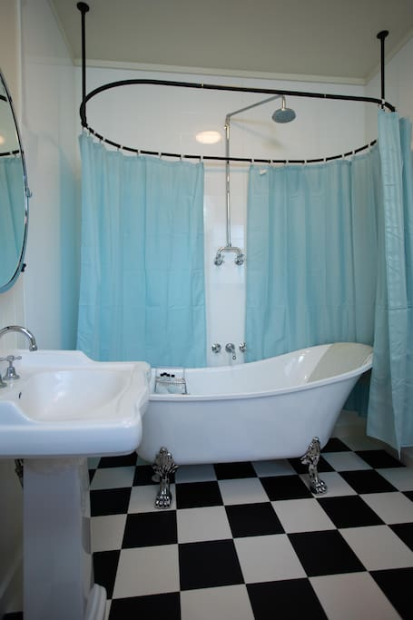 Private bathroom, with shower over bath