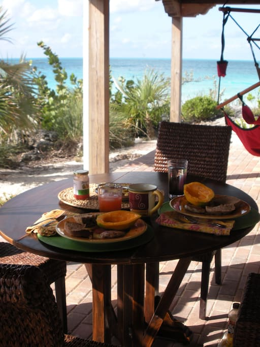 Gourmet breakfast steps from the turquoise waters