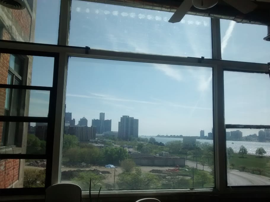 View from living room. Detroit River and Canada