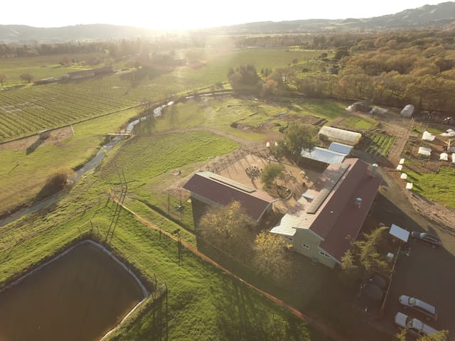 A birds eye view of our verdant farm and Modern Barn Houses located just a mile from the historic Sonoma plaza.