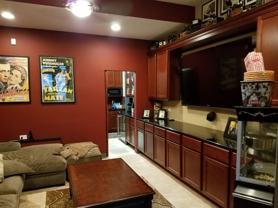 Private Home Theater looking into Kitchenette and Laundry Room