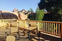 The Cave Castle's spacious 1000 sq ft roof top deck features 360 degree views. It's a lovely place to sunbathe, bird watch, dine al fresco, and enjoy a glass of wine while watching the sunset colors fill the sky.