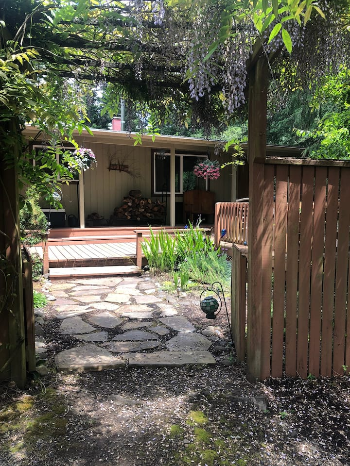 Close to campus, wooded,  on the edge of town